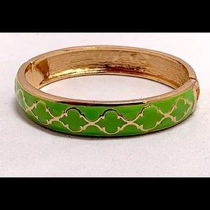 Fornash  Green and Gold Enamel Hinged Bracelet